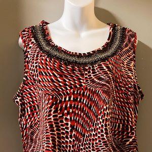 Avenue soft&slinky sleeveless blouse beaded neck
